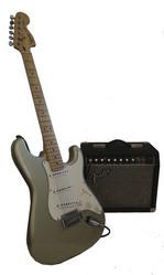 Электрогитара Squier и комбоусилитель Fender к ней
